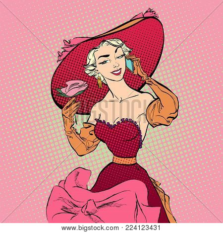 Speaking women. Mobile speaking women. Pretty retro posing model with big hat. Concept idea of advertisement and promo. Pop art retro style illustration. People in retro style. Halftone background.