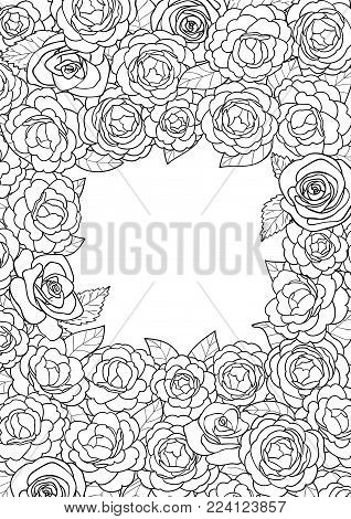 Camellia black outline square frame on white background. Floral romantic A4 composition with text place for mock ups, invitation, greeting cards, valentines and coloring pages.
