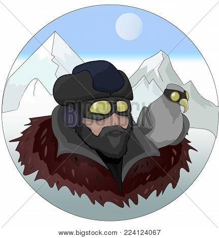 Aviator man and a eagle Vector illustration. Cartoon character. Winter Mountains background