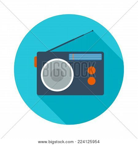 Radio flat icon. Radio symbol. Vector illustration in flat style