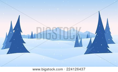 Vector illustration: Winter Mountains landscape with pines on foreground