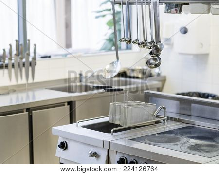restaurant equipment. Professional kitchen utensils. Clean and modern workspace