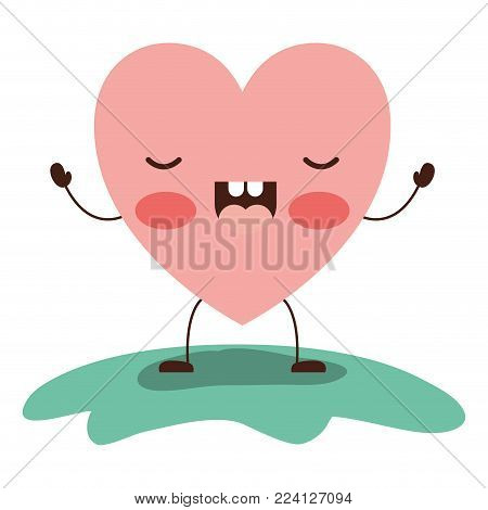 heart character kawaii frightened expression in colorful silhouette vector illustration