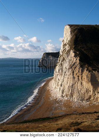 the white cliffs White cliffs on the Jurassic Coast of Dorset, UK