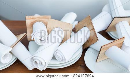 restaurant table setting equipment. Creative napkin arrangement. Table decor