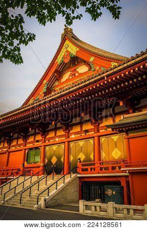 Senso-ji Kannon temple Hondo at sunset, Tokyo, Japan
