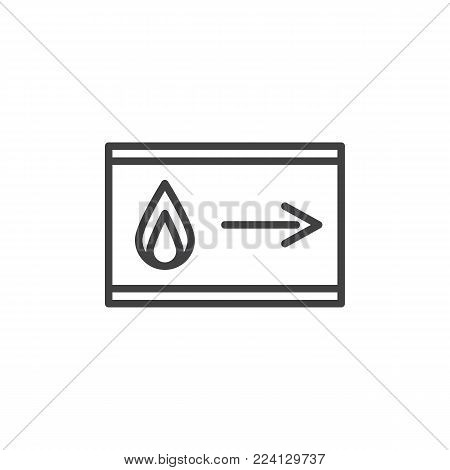 Emergency fire exit pointer line icon, outline vector sign, linear style pictogram isolated on white. Symbol, logo illustration. Editable stroke