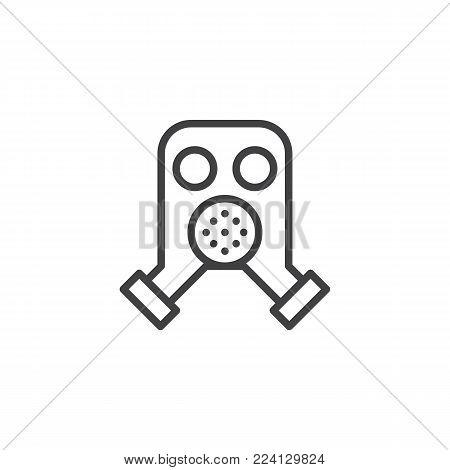Firefighter mask line icon, outline vector sign, linear style pictogram isolated on white. Respirator, gas mask symbol, logo illustration. Editable stroke
