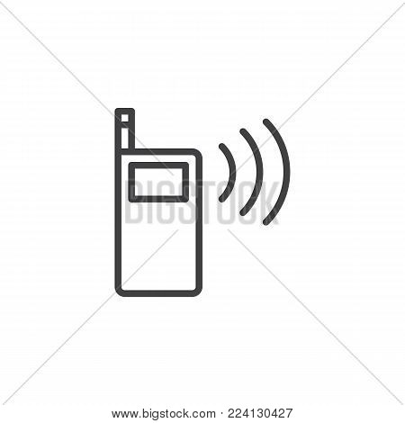 Walkie talkie line icon, outline vector sign, linear style pictogram isolated on white. Portable radio transmitter symbol, logo illustration. Editable stroke