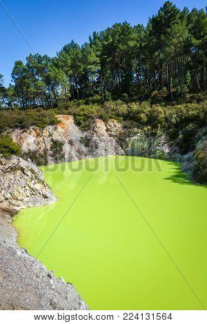 green lake in Waiotapu geothermal area, Rotorua, New Zealand