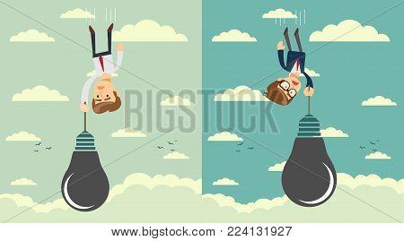 Sad businessman falling holding idea bulb as balloon . Set. Stock flat vector illustration.