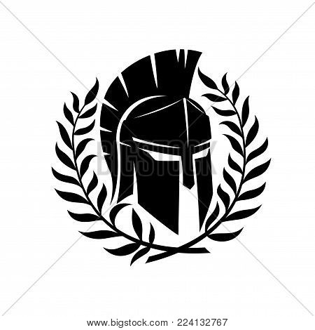 Spartan helmet and wreath on a white background.