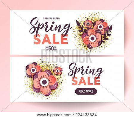 Paper art of  Spring origami sale banner   set concept. 50 percent discount
