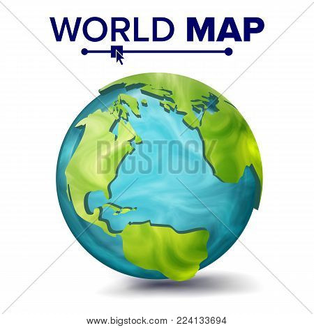 World Map Vector. 3d Planet Sphere. Earth With Continents. North America, South America, Africa, Europe
