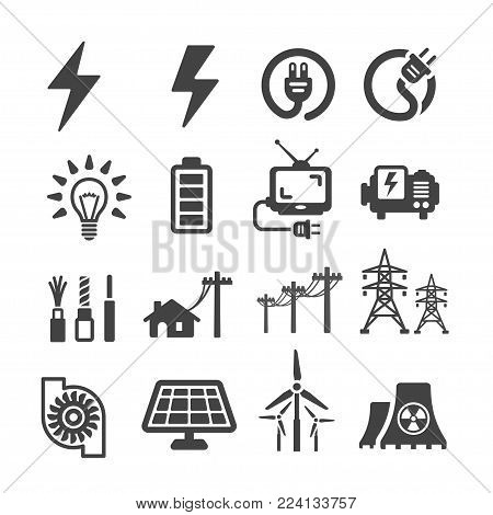 electric icon set energy icon vector illustration