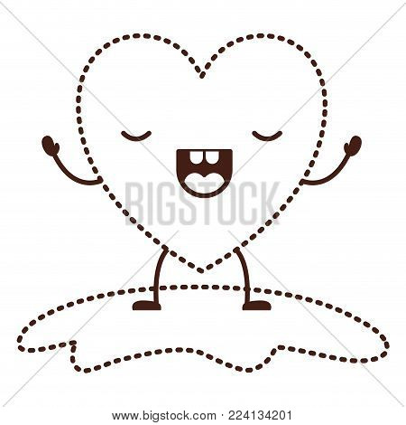heart character kawaii with wings and frightened expression in brown dotted contour vector illustration