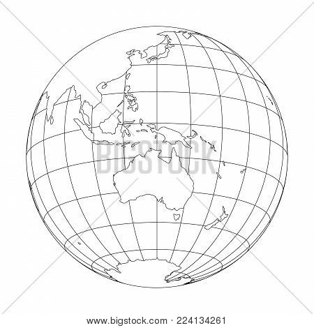 Outline Earth globe with map of World focused on Australia and Oceania. Vector illustration.