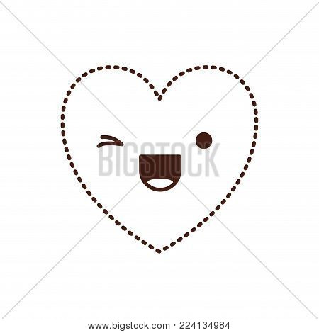 heart kawaii in wink expression in brown dotted contour vector illustration