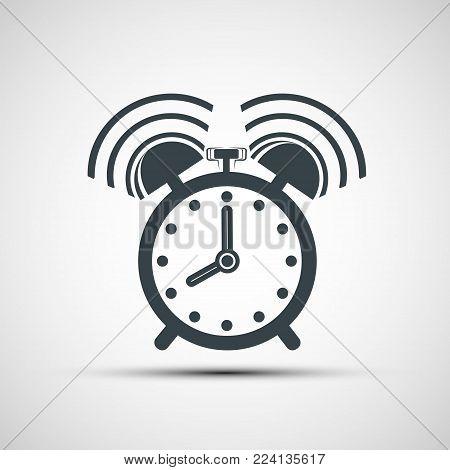 Icon ringing alarm clock. Isolated on white background. Stock vector flat graphic illustration.