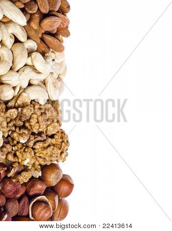 Assorted nuts isolated on white background
