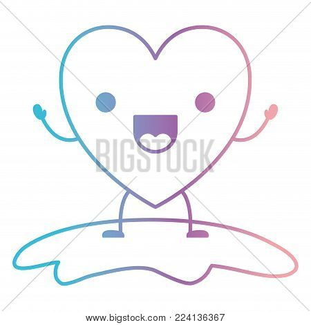 heart character kawaii jolly expression in degraded blue to purple color contour vector illustration