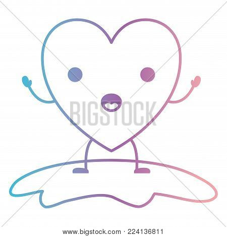 heart character kawaii in surprised expression in degraded blue to purple color contour vector illustration