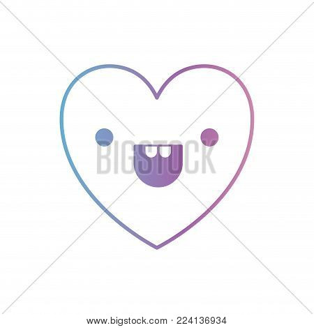 heart kawaii in cheerful expression in degraded blue to purple color contour vector illustration