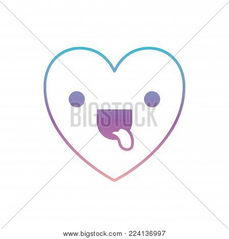 heart kawaii in funny expression in degraded blue to purple color contour vector illustration
