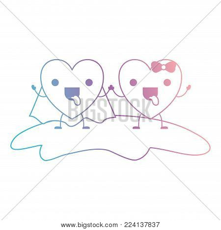 couple heart character kawaii holding hands and him with coat and her with topknot in funny expression in degraded blue to purple color contour vector illustration