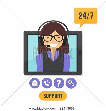 Online tech support 24 7 service concept. Happy female helpline operator with headset consulting online on computer tablet. Vector illustration.