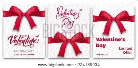 Valentines Day. Set of posters for Valentine's sale, promo etc. Trendy posters with script lettering and typography.