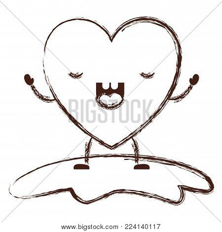 heart character kawaii with frightened expression in brown blurred contour vector illustration