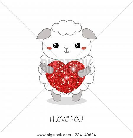 Sheep illustration. Sheep with heart. Valentine's Day.