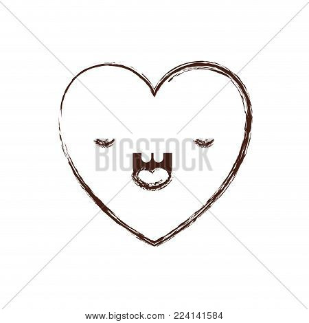 heart kawaii in frightened expression in brown blurred contour vector illustration