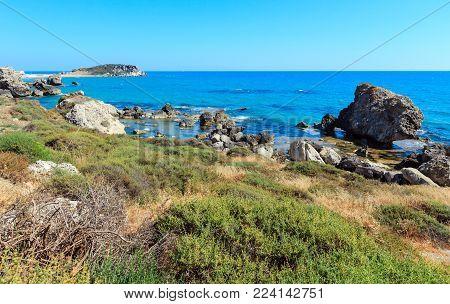Paradise sea beach Cala Paradiso and Cala del Re near Rocca di San Nicola, Agrigento, Sicily, Italy