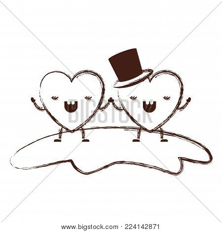couple heart character kawaii holding hands and him with top hat in frightened expression in brown blurred contour vector illustration