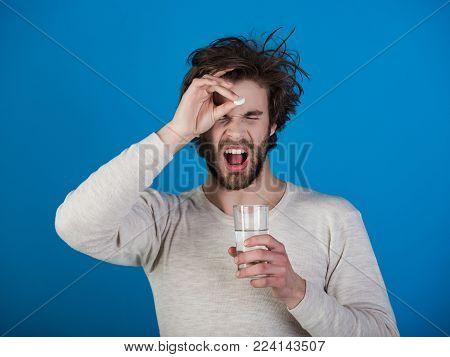 Man Drink Pill With Water, Illness, Insomnia. Painkiller Drug, Antidepressant. Headache Treatment, H