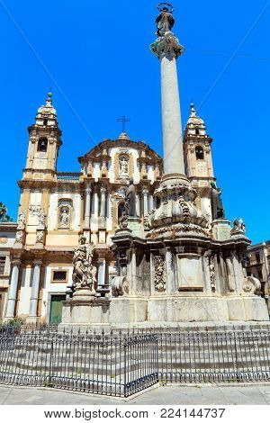 Church of Saint Dominic (Chiesa di San Domenico e Chiostro) is the second most important church of Palermo, Sicily, Italy. And obelisk-like Colonna dell Immacolata (Immaculate Virgin, build in 1728)