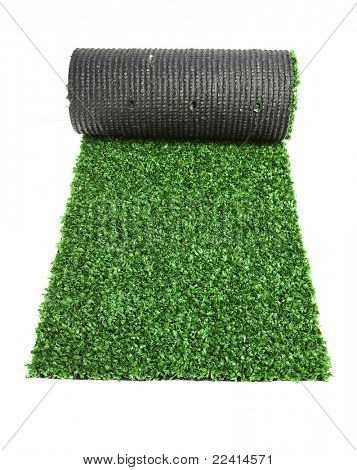roll green grass for tennis  isolated on white background