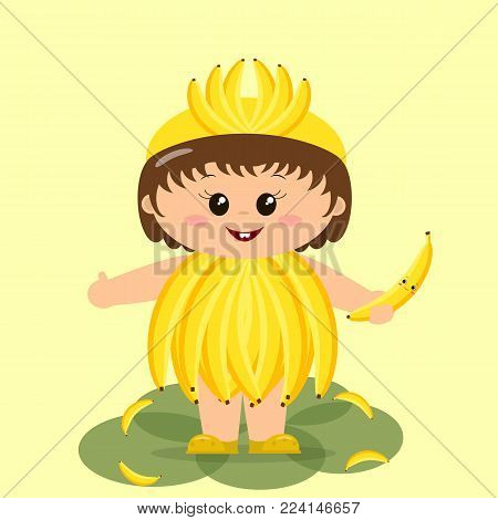 Cute kid in a banana costume, painted in cartoon style.
