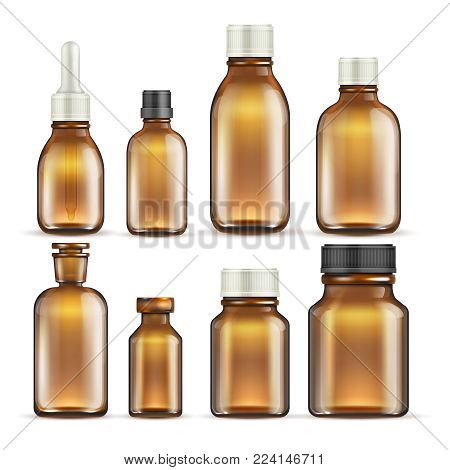 Realistic brown glass medicine and cosmetic bottles, medical packaging isolated vector set. Illustration of bottle glass container medical drug