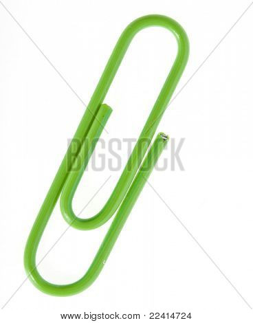 green  paper clip isolated on white background