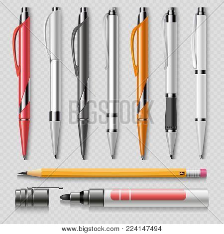 Realistic office stationery isolated on transparent background - pens, pencil and marker realistic vector. Office stationery pen and marker illustration