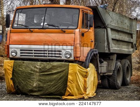 Kazakhstan, Ust-Kamenogorsk, november 2, 2017: Kamaz 5511. Old soviet truck. Old dumper