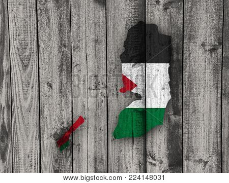 Colorful and crisp image of map and flag of Palestine on weathered wood