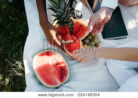 Picnic in the park. Above view of the female and male multi-race hands taking pieces of the watermelon near grapes