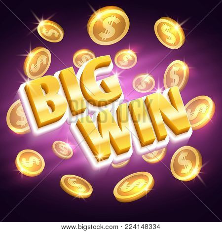 Big win money prize. Winning gambling vector concept with golden dollar coins. Money dollar win, prize and success, coins jackpot ilustration
