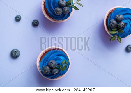 Tasty cupcakes with blue cream over plain background. Top view.