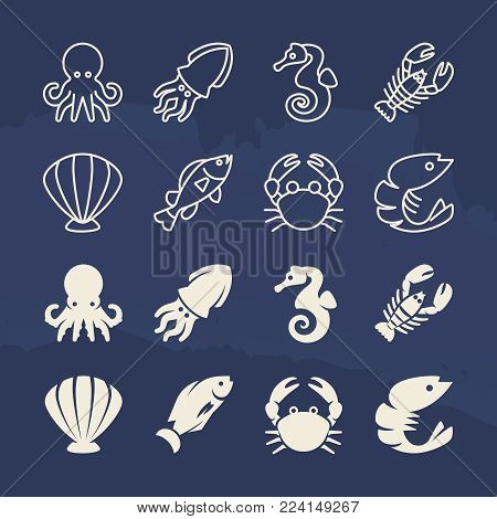 Seafood linear and silhouette icons set on grunge background. Vector seafood fish and octopus, underwater animals and shellfish illustration