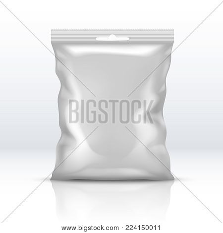Blank white foil package isolated. Plastic powder packet realistic vector illustration. Packet foil for food, sachet realistic package for merchandise